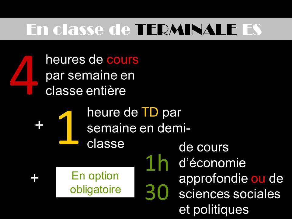 En classe de TERMINALE ES 4 1 heures de cours par semaine en classe entière heure de TD par semaine en demi- classe 1h 30 de cours déconomie approfondie ou de sciences sociales et politiques En option obligatoire + +