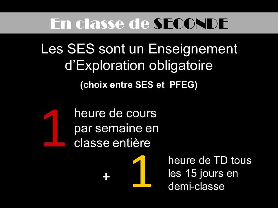 En classe de SECONDE 1 1 heure de cours par semaine en classe entière heure de TD tous les 15 jours en demi-classe Les SES sont un Enseignement dExploration obligatoire (choix entre SES et PFEG) +