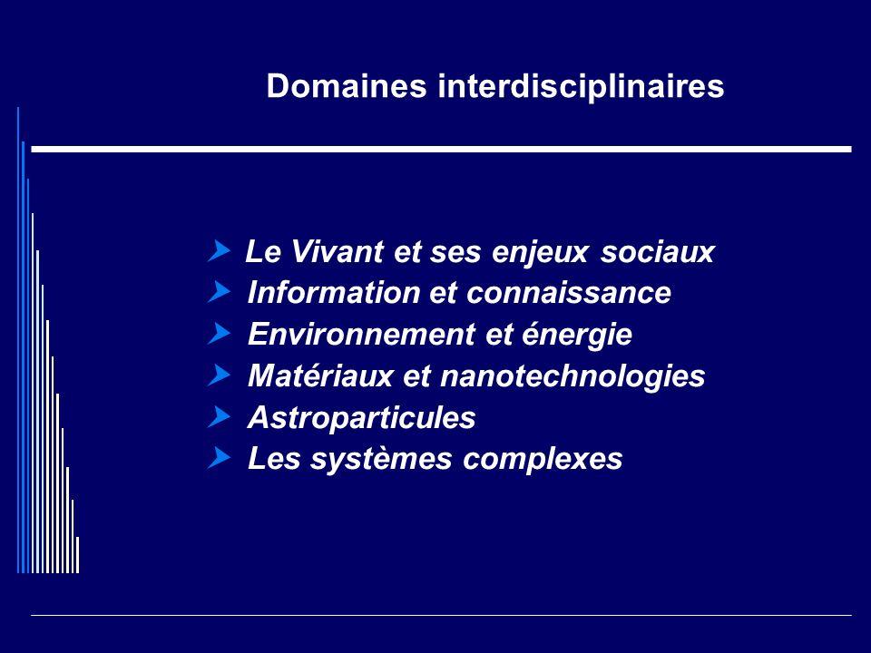 Domaines interdisciplinaires Le Vivant et ses enjeux sociaux Information et connaissance Environnement et énergie Matériaux et nanotechnologies Astrop