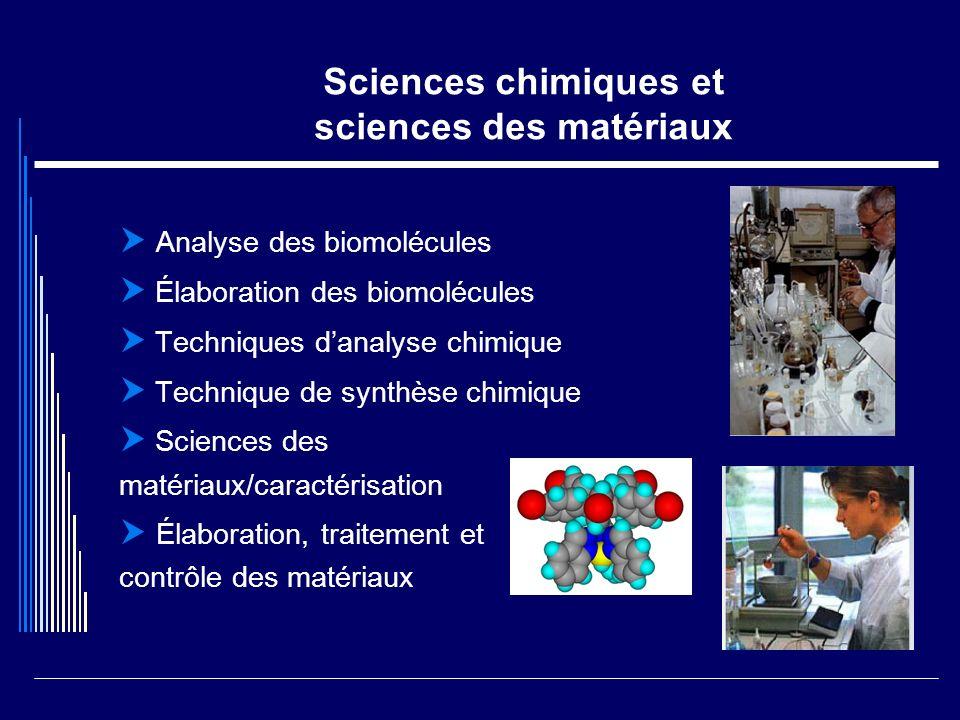 Sciences chimiques et sciences des matériaux Analyse des biomolécules Élaboration des biomolécules Techniques danalyse chimique Technique de synthèse