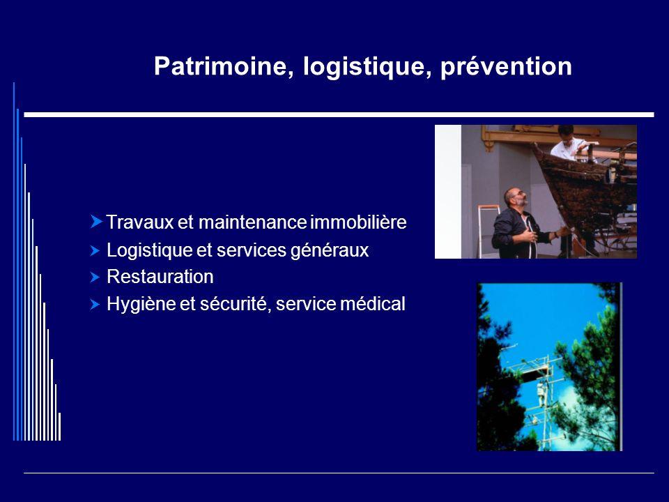 Patrimoine, logistique, prévention Travaux et maintenance immobilière Logistique et services généraux Restauration Hygiène et sécurité, service médica