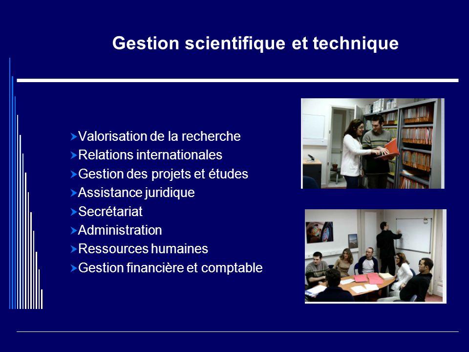 Gestion scientifique et technique Valorisation de la recherche Relations internationales Gestion des projets et études Assistance juridique Secrétaria
