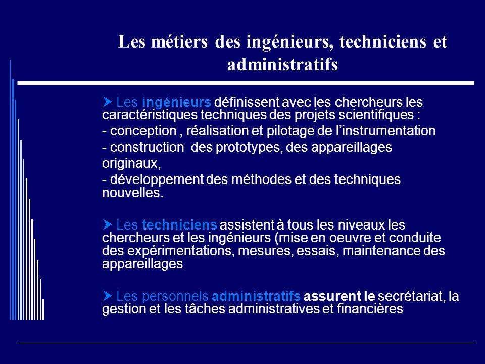 Les métiers des ingénieurs, techniciens et administratifs Les ingénieurs définissent avec les chercheurs les caractéristiques techniques des projets s