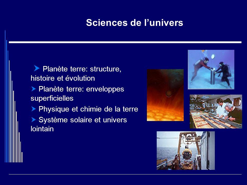 Sciences de lunivers Planète terre: structure, histoire et évolution Planète terre: enveloppes superficielles Physique et chimie de la terre Système s