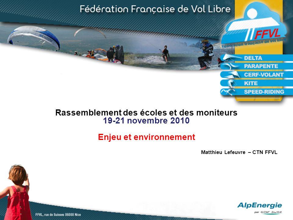 Rassemblement des écoles et des moniteurs 19-21 novembre 2010 Enjeu et environnement Matthieu Lefeuvre – CTN FFVL