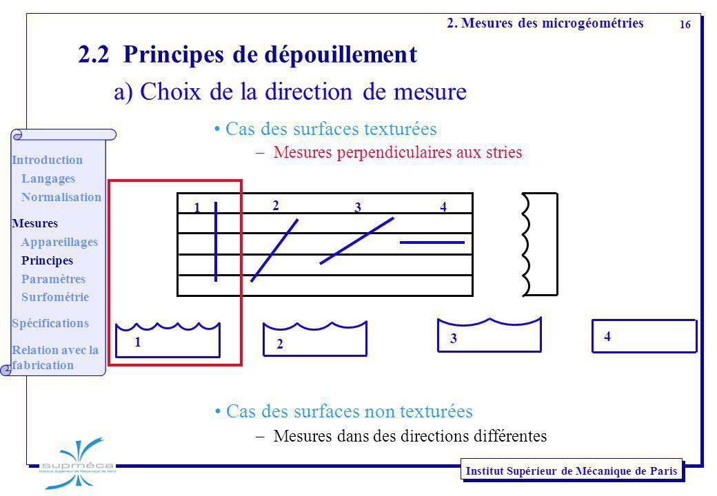 16 Institut Supérieur de Mécanique de Paris 2.2 Principes de dépouillement a) Choix de la direction de mesure 1 2 3 4 1 2 3 4 2. Mesures des microgéom