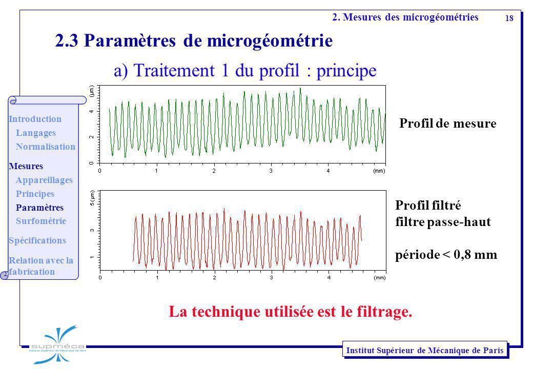 18 Institut Supérieur de Mécanique de Paris 2.3 Paramètres de microgéométrie La technique utilisée est le filtrage. Profil de mesure Profil filtré fil
