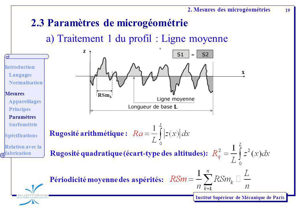 19 Institut Supérieur de Mécanique de Paris 2.3 Paramètres de microgéométrie a) Traitement 1 du profil : Ligne moyenne 2. Mesures des microgéométries