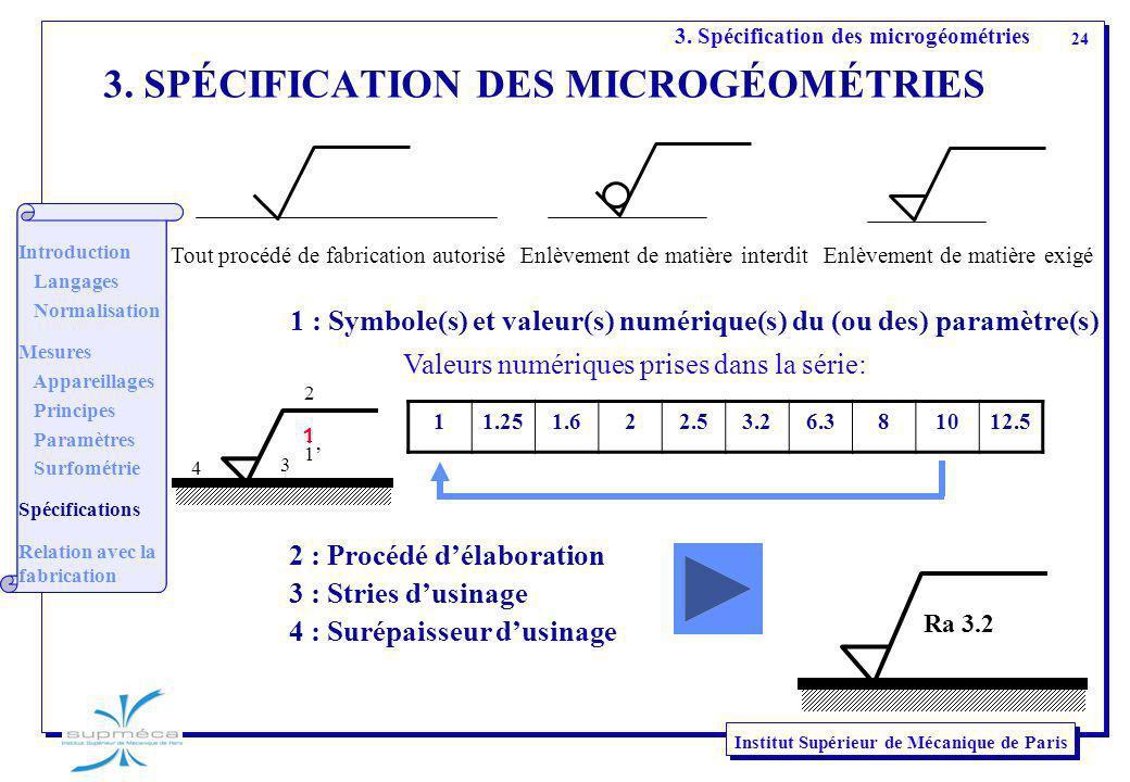 24 Institut Supérieur de Mécanique de Paris 3. SPÉCIFICATION DES MICROGÉOMÉTRIES 1 : Symbole(s) et valeur(s) numérique(s) du (ou des) paramètre(s) 11.