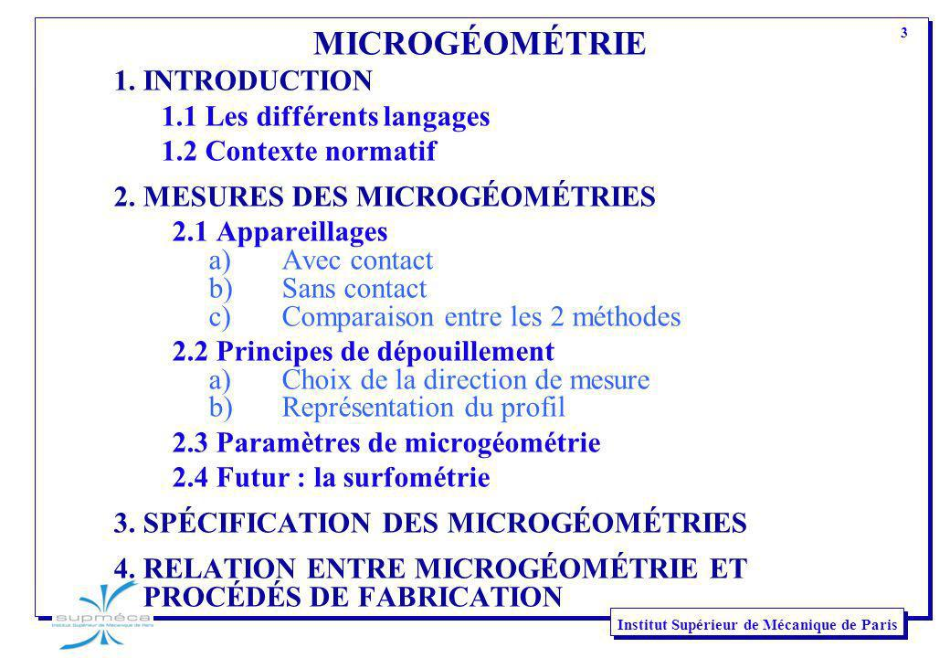 3 Institut Supérieur de Mécanique de Paris MICROGÉOMÉTRIE 1. INTRODUCTION 1.1 Les différents langages 1.2 Contexte normatif 2. MESURES DES MICROGÉOMÉT