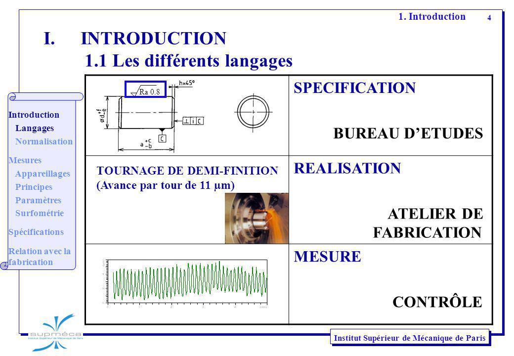 4 Institut Supérieur de Mécanique de Paris I.INTRODUCTION 1.1 Les différents langages SPECIFICATION BUREAU DETUDES REALISATION ATELIER DE FABRICATION