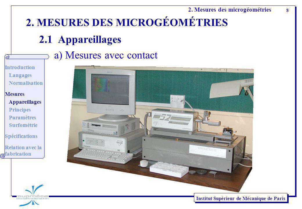 8 Institut Supérieur de Mécanique de Paris 2. Mesures des microgéométries 2. MESURES DES MICROGÉOMÉTRIES 2.1 Appareillages a) Mesures avec contact Int