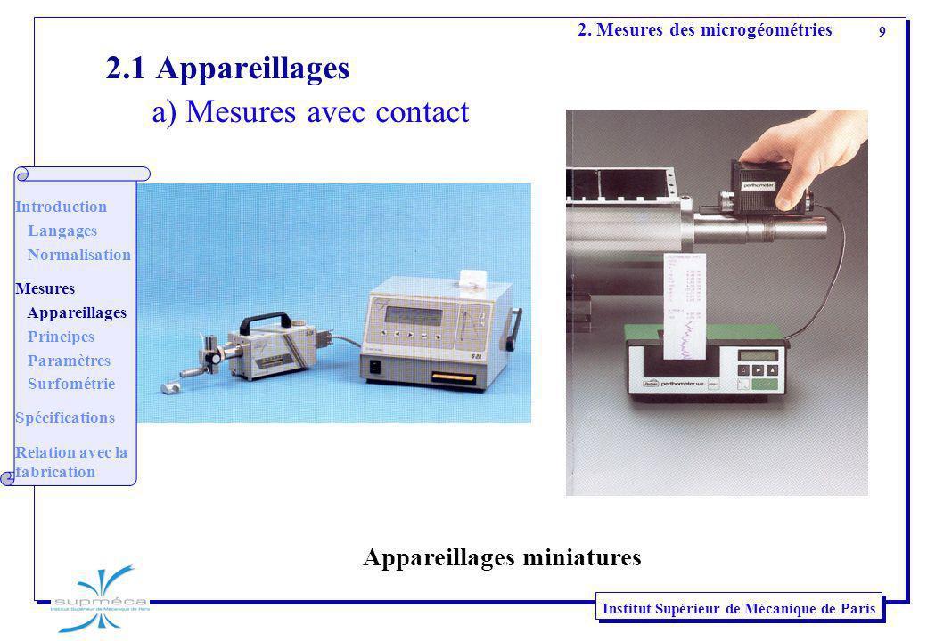 9 Institut Supérieur de Mécanique de Paris 2. Mesures des microgéométries Appareillages miniatures 2.1 Appareillages a) Mesures avec contact Introduct