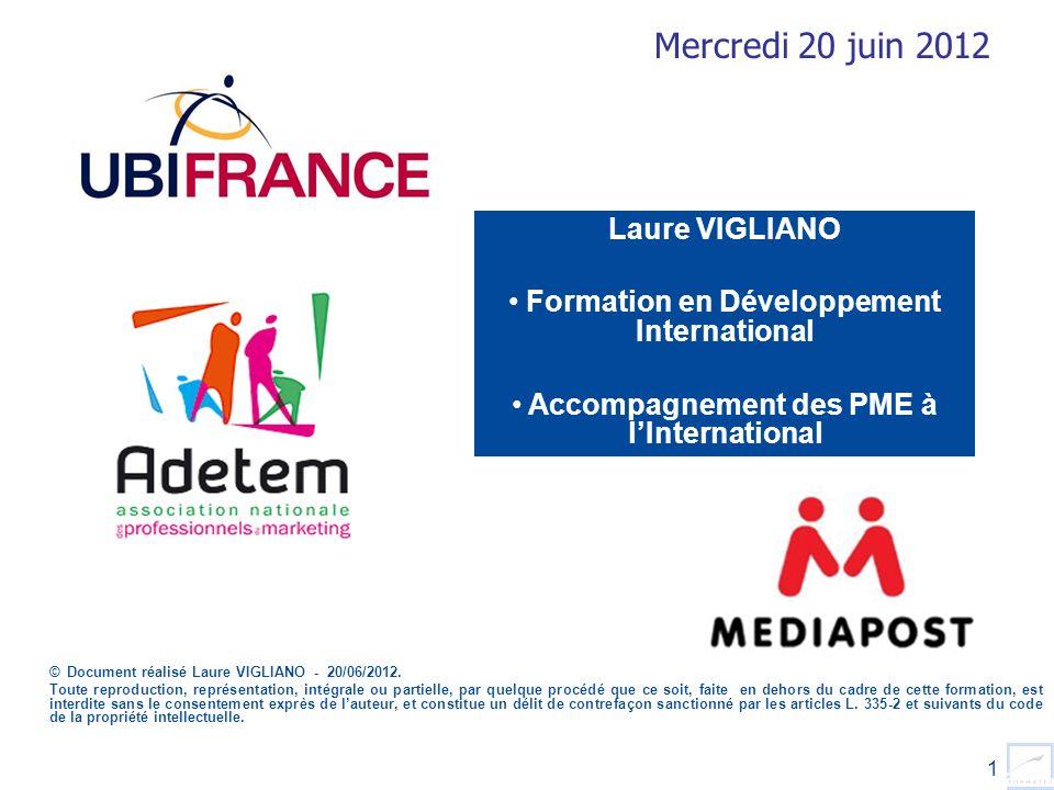 1 Laure VIGLIANO Formation en Développement International Accompagnement des PME à lInternational © Document réalisé Laure VIGLIANO - 20/06/2012. Tout