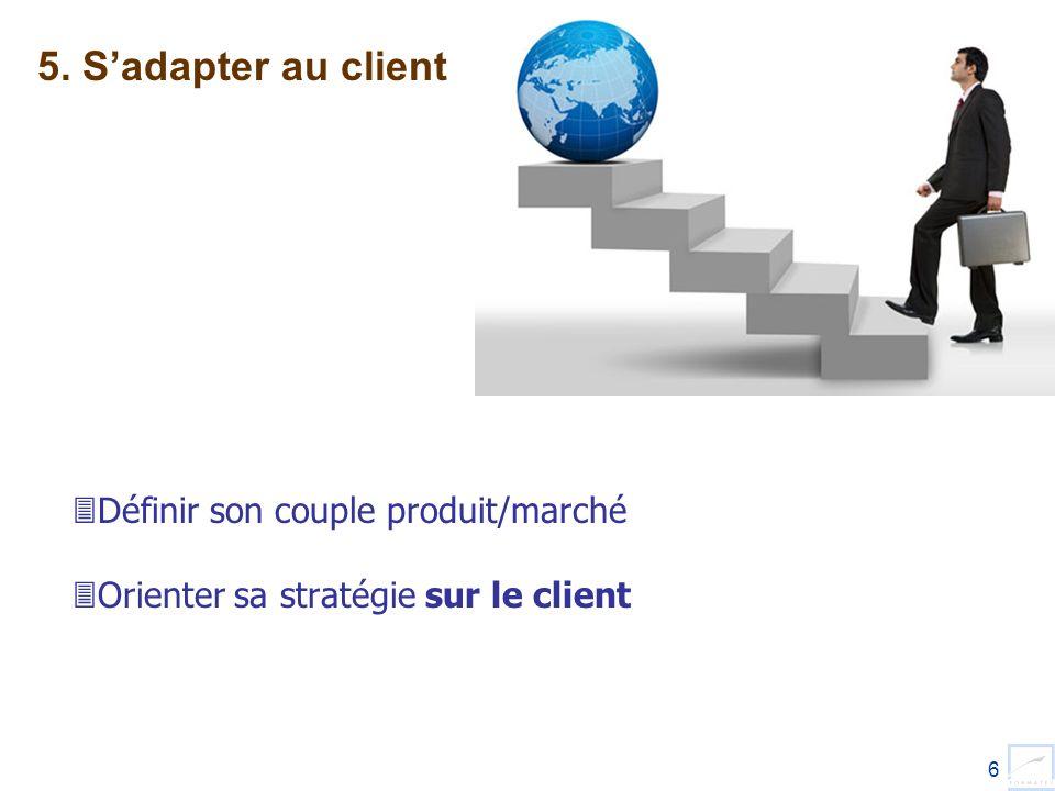 6 Définir son couple produit/marché Orienter sa stratégie sur le client 5. Sadapter au client