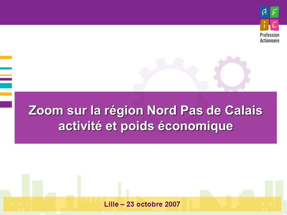 Zoom sur la région Nord Pas de Calais activité et poids économique Lille – 23 octobre 2007