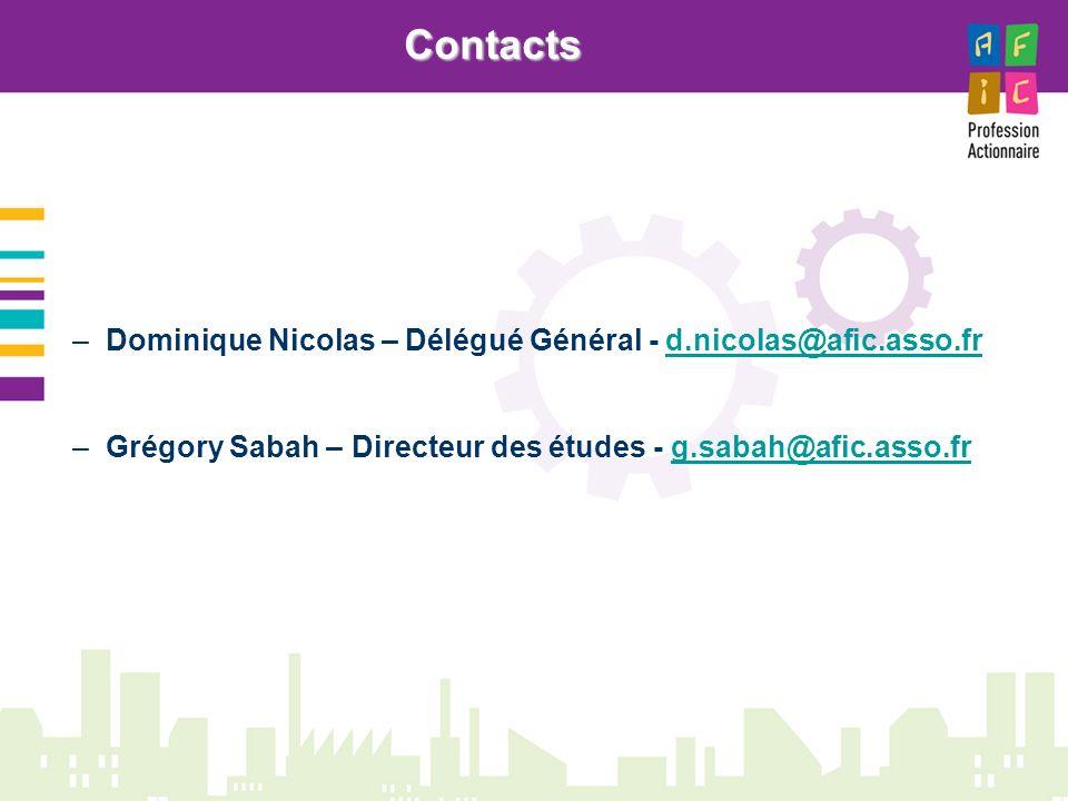 –Dominique Nicolas – Délégué Général - d.nicolas@afic.asso.frd.nicolas@afic.asso.fr –Grégory Sabah – Directeur des études - g.sabah@afic.asso.frg.sabah@afic.asso.frContacts