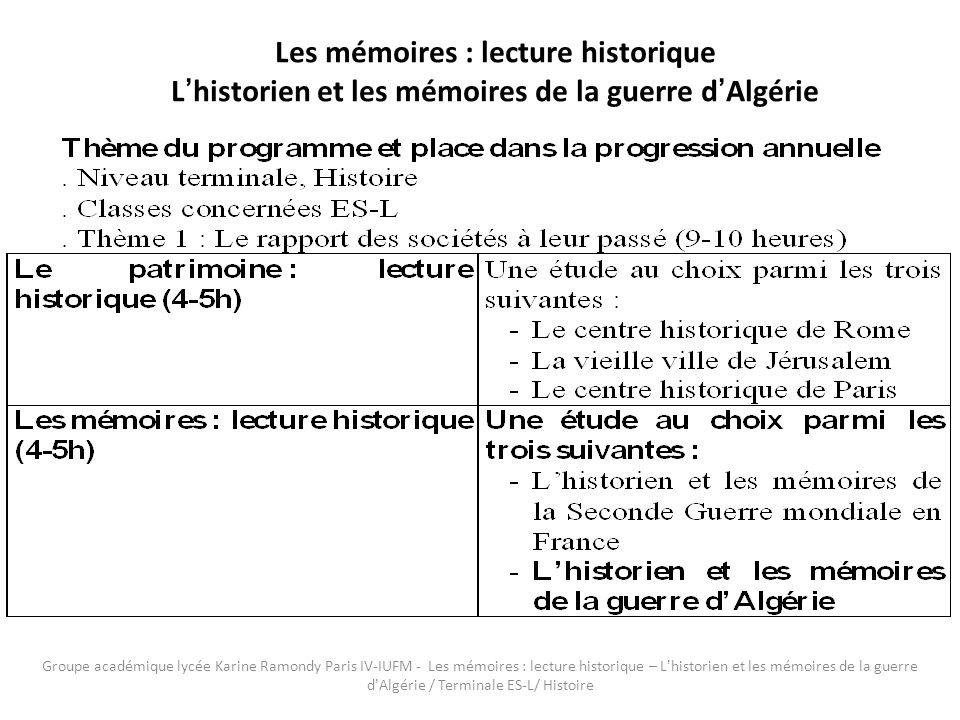 Groupe académique lycée Karine Ramondy Paris IV-IUFM - Les mémoires : lecture historique – Lhistorien et les mémoires de la guerre dAlgérie / Terminale ES-L/ Histoire.