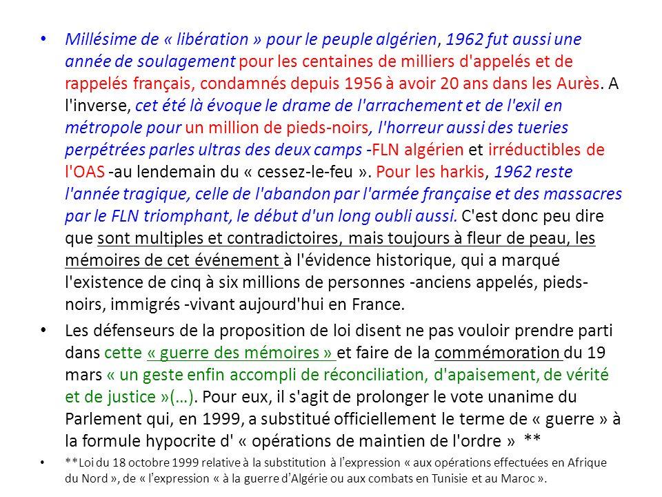 Millésime de « libération » pour le peuple algérien, 1962 fut aussi une année de soulagement pour les centaines de milliers d'appelés et de rappelés f