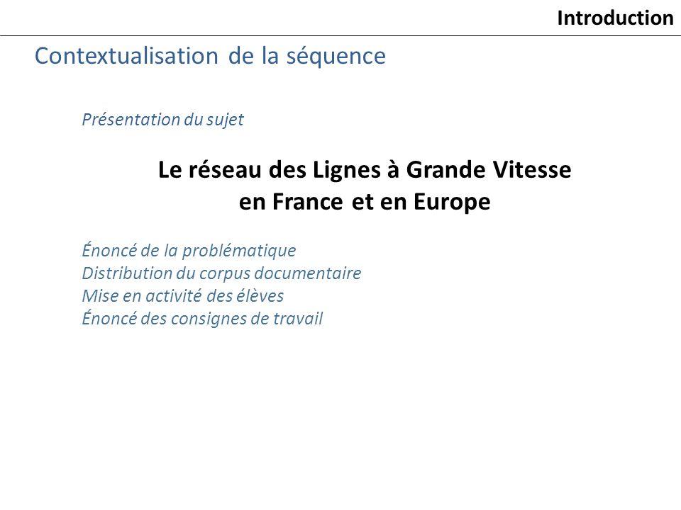 Présentation du sujet Le réseau des Lignes à Grande Vitesse en France et en Europe Énoncé de la problématique Distribution du corpus documentaire Mise
