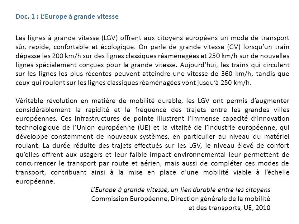 Les lignes à grande vitesse (LGV) offrent aux citoyens européens un mode de transport sûr, rapide, confortable et écologique. On parle de grande vites