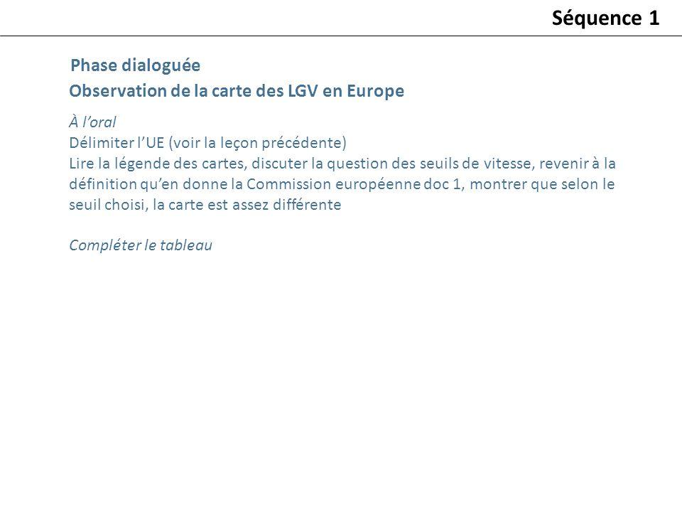 Observation de la carte des LGV en Europe À loral Délimiter lUE (voir la leçon précédente) Lire la légende des cartes, discuter la question des seuils