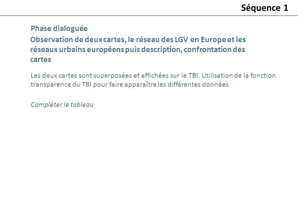 Observation de deux cartes, le réseau des LGV en Europe et les réseaux urbains européens puis description, confrontation des cartes Phase dialoguée Sé