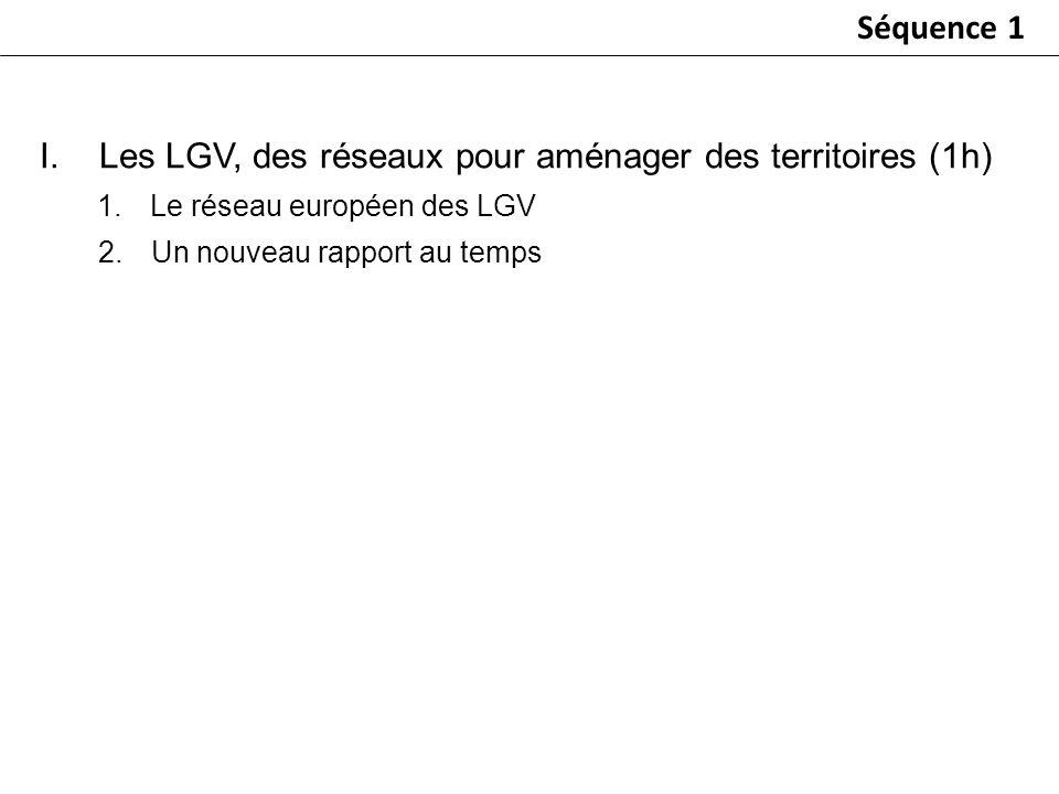 I.Les LGV, des réseaux pour aménager des territoires (1h) 1.Le réseau européen des LGV 2.Un nouveau rapport au temps Séquence 1