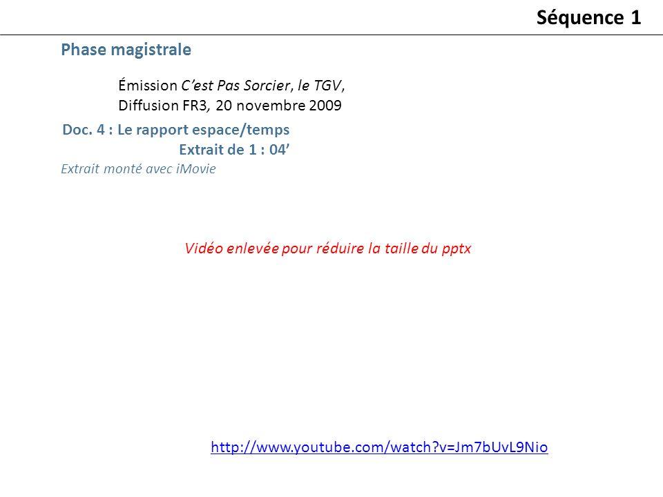 Émission Cest Pas Sorcier, le TGV, Diffusion FR3, 20 novembre 2009 Doc. 4 : Le rapport espace/temps Extrait de 1 : 04 Vidéo enlevée pour réduire la ta
