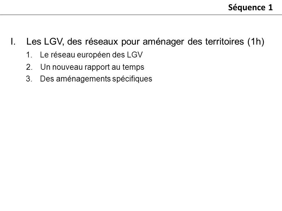 I.Les LGV, des réseaux pour aménager des territoires (1h) 1.Le réseau européen des LGV 2.Un nouveau rapport au temps 3.Des aménagements spécifiques Sé