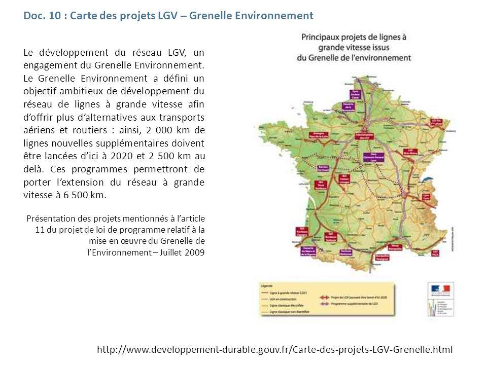 Le développement du réseau LGV, un engagement du Grenelle Environnement. Le Grenelle Environnement a défini un objectif ambitieux de développement du