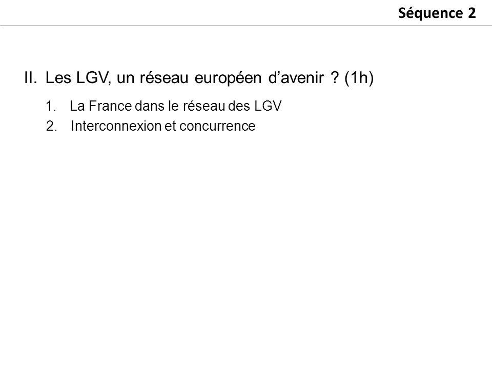 Séquence 2 1.La France dans le réseau des LGV 2.Interconnexion et concurrence II.Les LGV, un réseau européen davenir ? (1h)