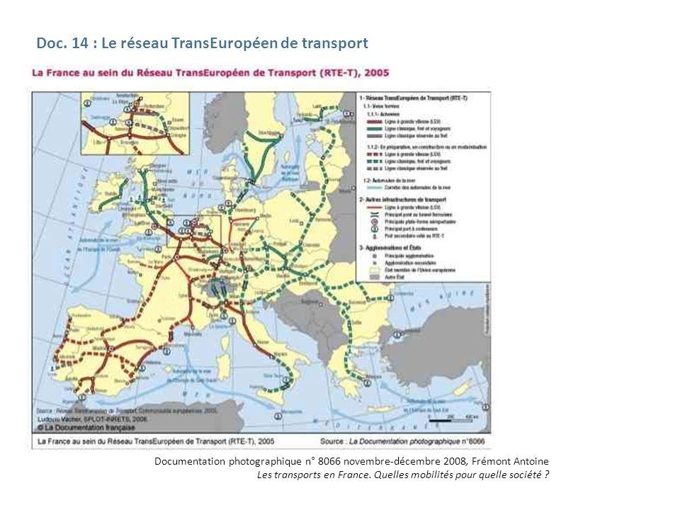Doc. 14 : Le réseau TransEuropéen de transport Documentation photographique n° 8066 novembre-décembre 2008, Frémont Antoine Les transports en France.
