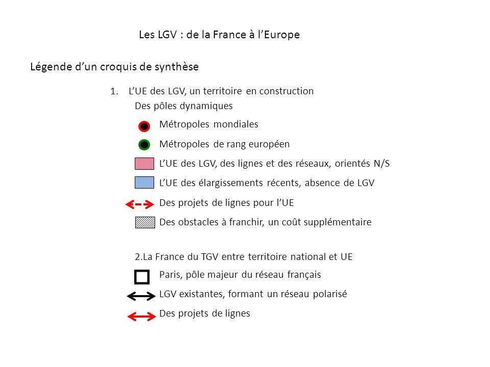 1.LUE des LGV, un territoire en construction Des pôles dynamiques Métropoles mondiales Métropoles de rang européen LUE des LGV, des lignes et des rése