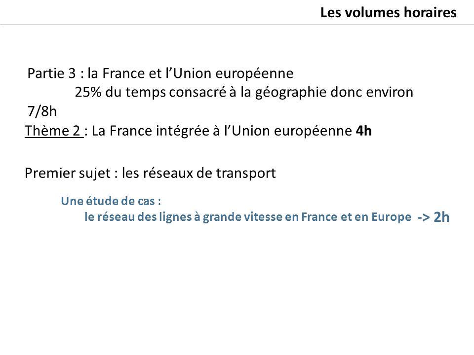 Thème 2 : La France intégrée à lUnion européenne 4h Premier sujet : les réseaux de transport -> 2h Les volumes horaires Partie 3 : la France et lUnion