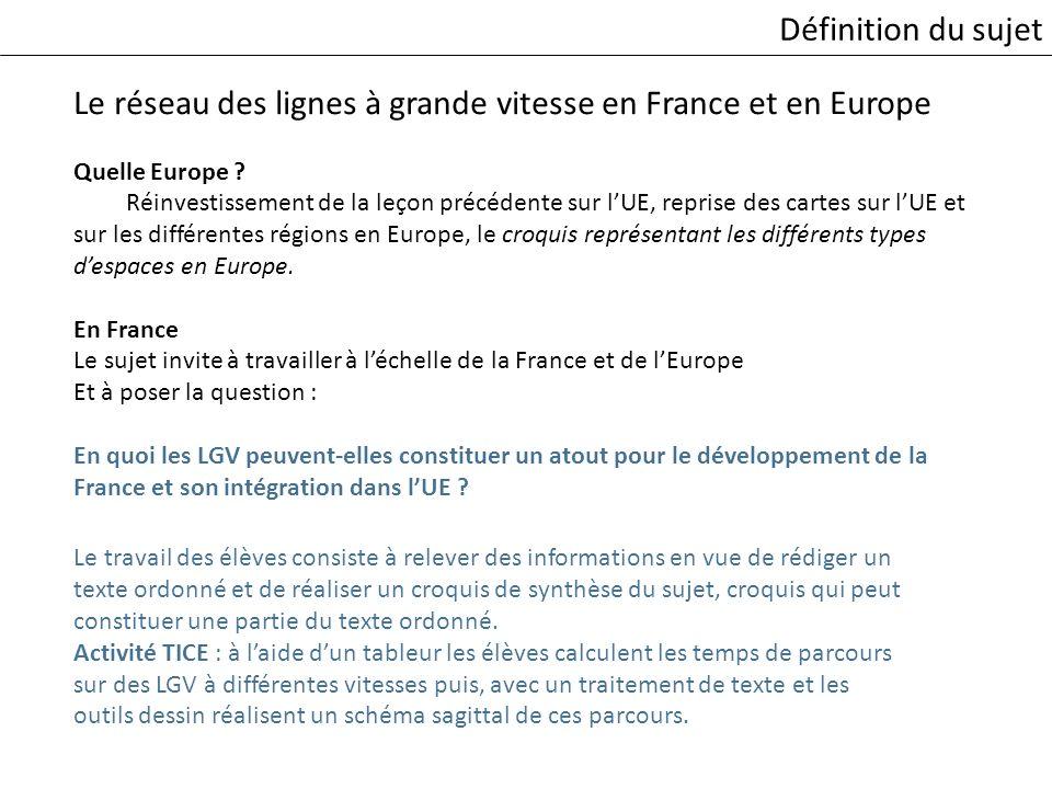 Le réseau des lignes à grande vitesse en France et en Europe Quelle Europe ? Réinvestissement de la leçon précédente sur lUE, reprise des cartes sur l