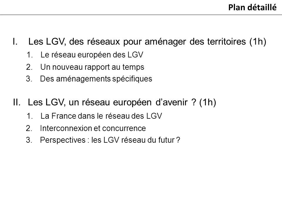 I.Les LGV, des réseaux pour aménager des territoires (1h) 1.Le réseau européen des LGV 2.Un nouveau rapport au temps 3.Des aménagements spécifiques Pl
