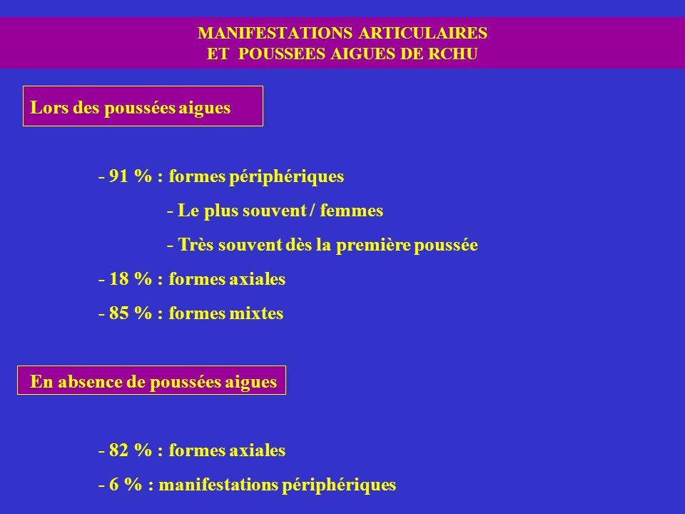 MANIFESTATIONS ARTICULAIRES ET POUSSEES AIGUES DE RCHU Lors des poussées aigues - 91 % : formes périphériques - Le plus souvent / femmes - Très souven