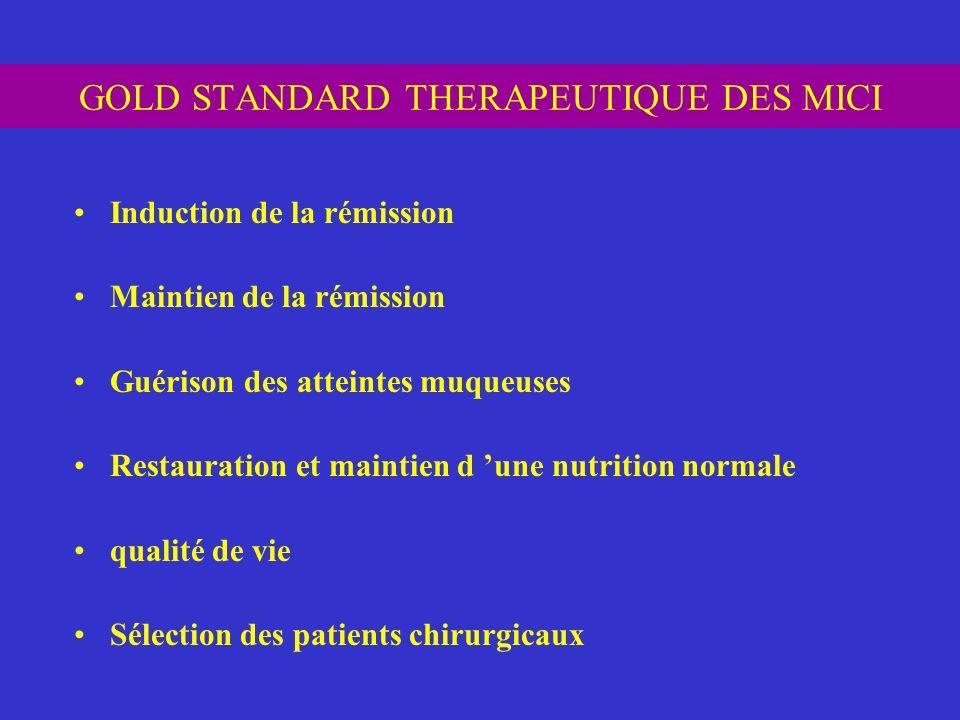 GOLD STANDARD THERAPEUTIQUE DES MICI Induction de la rémission Maintien de la rémission Guérison des atteintes muqueuses Restauration et maintien d un