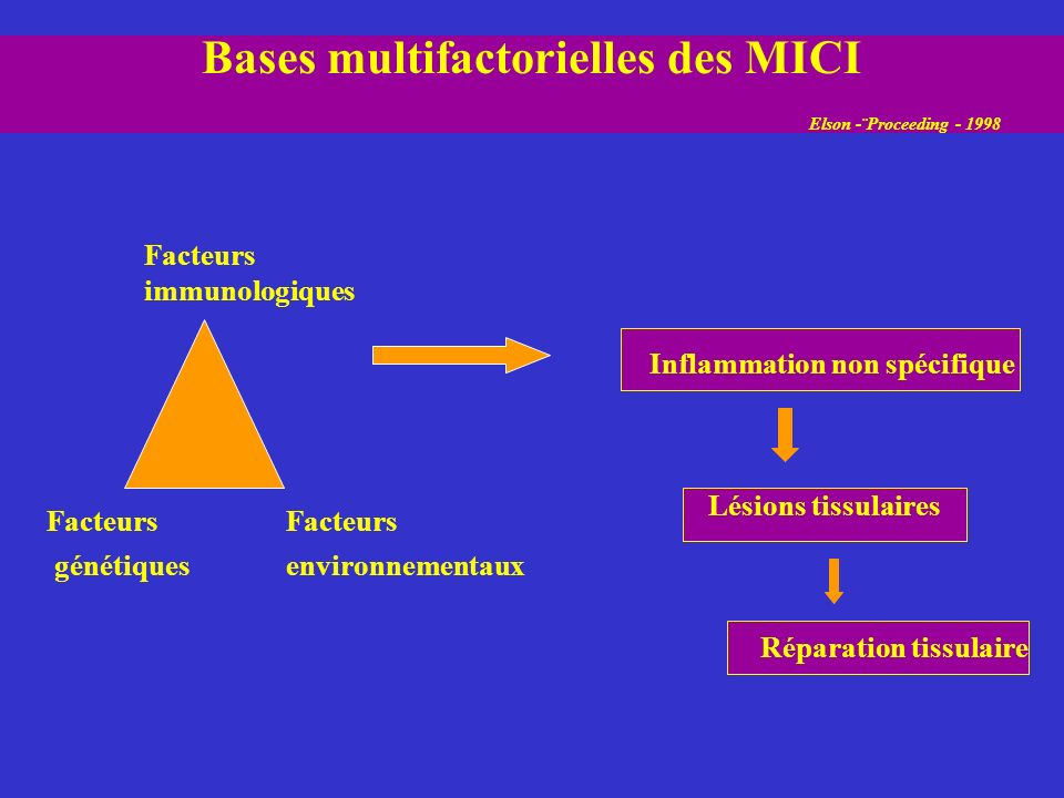 Bases multifactorielles des MICI Elson -¨Proceeding - 1998 Facteurs immunologiques Facteurs génétiques Facteurs environnementaux Inflammation non spéc
