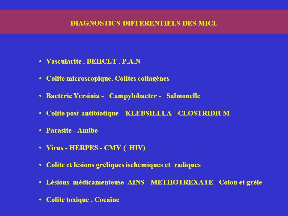 DIAGNOSTICS DIFFERENTIELS DES MICI. Vascularite. BEHCET. P.A.N Colite microscopique. Colites collagènes Bactérie Yersinia - Campylobacter - Salmonelle