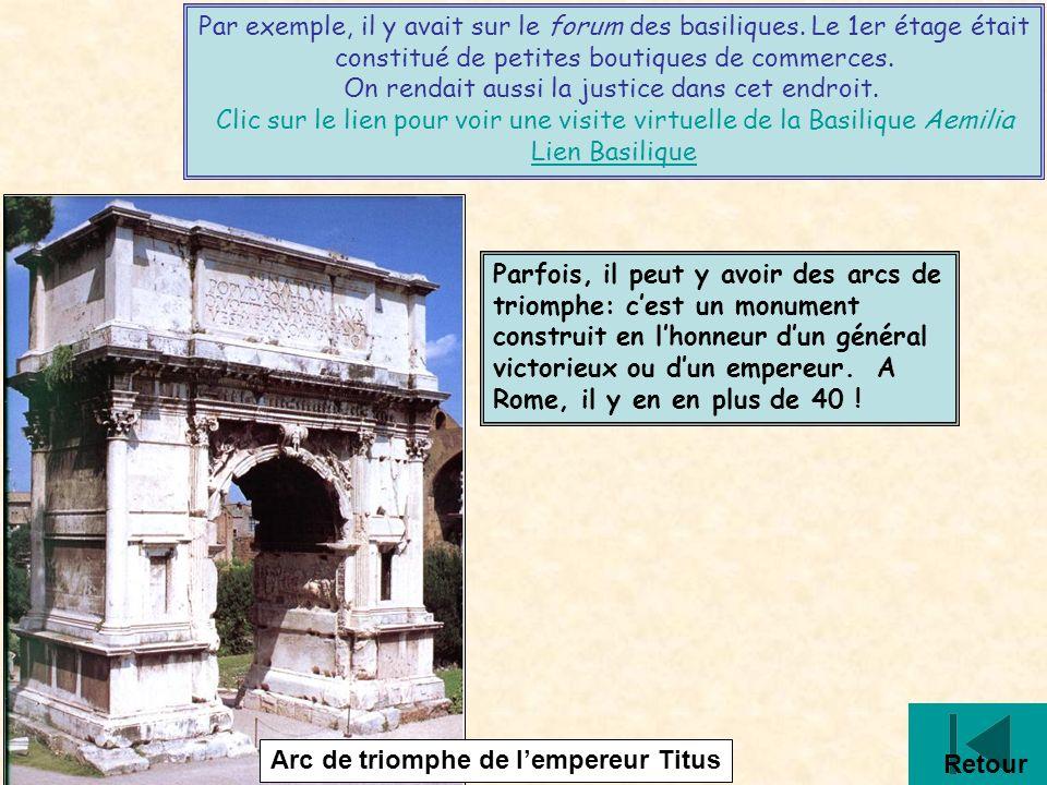 D16 Par exemple, il y avait sur le forum des basiliques. Le 1er étage était constitué de petites boutiques de commerces. On rendait aussi la justice d