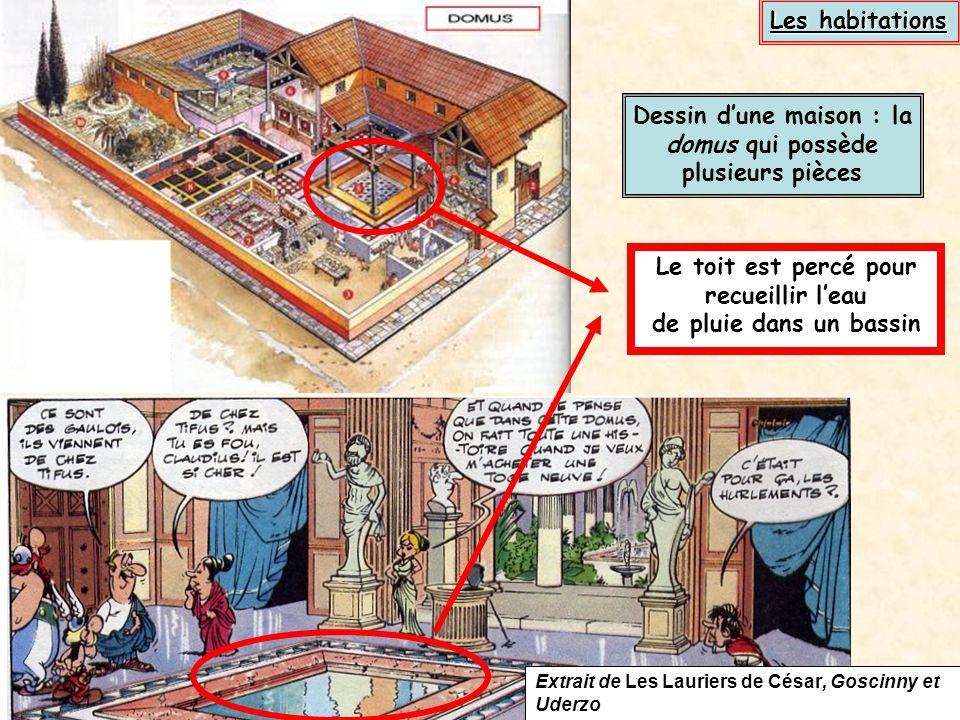 D23Les habitations Dessin dune maison : la domus qui possède plusieurs pièces Le toit est percé pour recueillir leau de pluie dans un bassin Extrait d