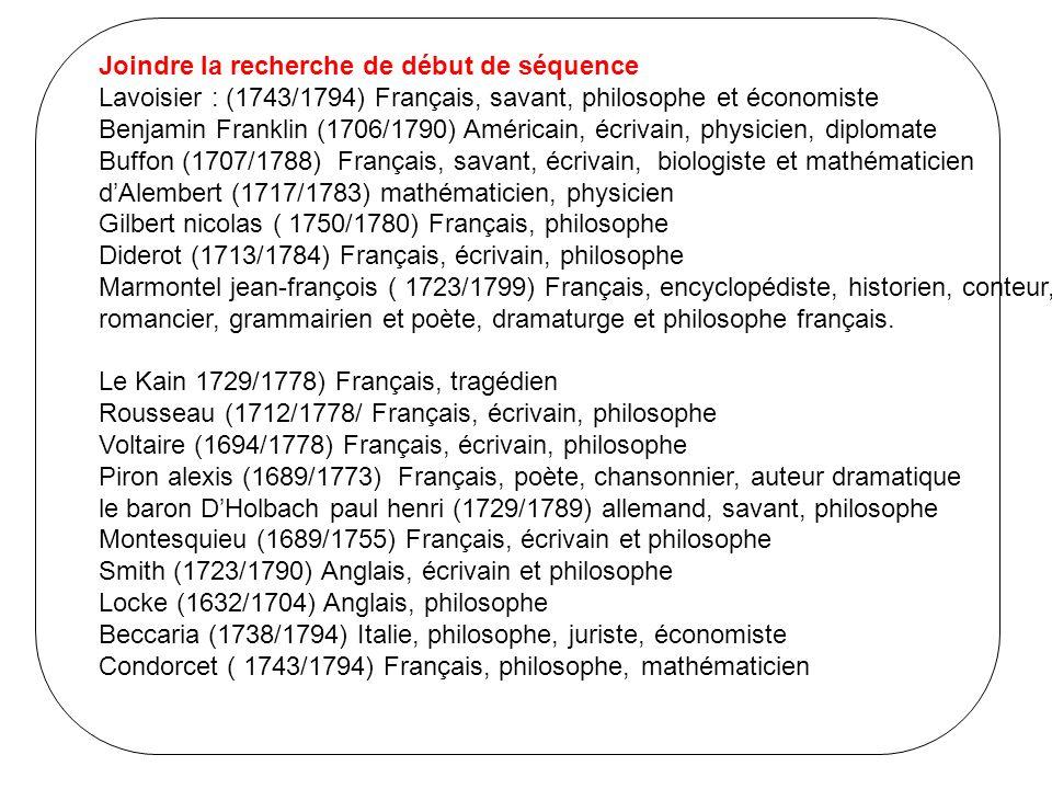 Joindre la recherche de début de séquence Lavoisier : (1743/1794) Français, savant, philosophe et économiste Benjamin Franklin (1706/1790) Américain,