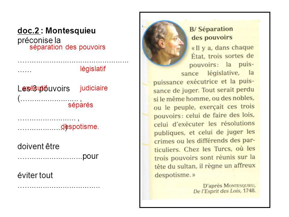 doc.2 : Montesquieu préconise la........................................................ Les 3 pouvoirs (..........................,..................