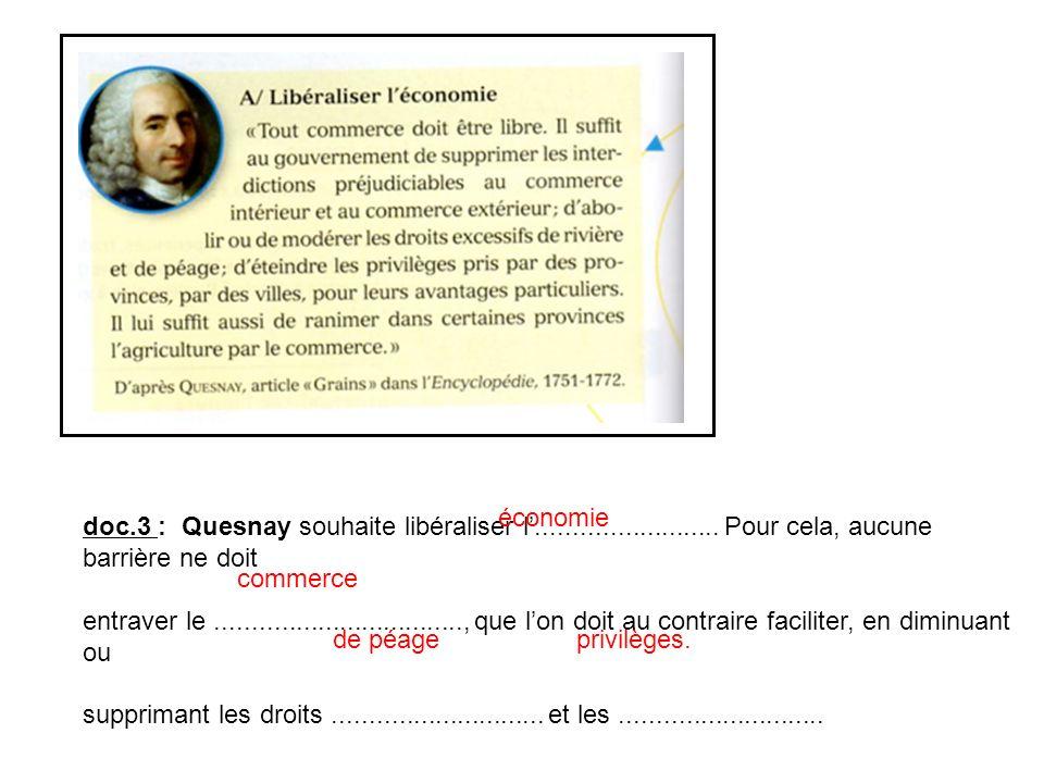 doc.3 : Quesnay souhaite libéraliser l......................... Pour cela, aucune barrière ne doit entraver le.................................., que