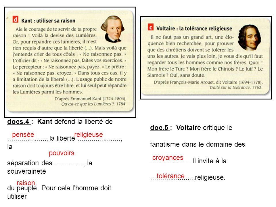 docs.4 : Kant défend la liberté de...................., la liberté......................, la séparation des..............., la souveraineté du peuple.