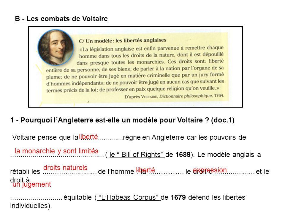 B - Les combats de Voltaire 1 - Pourquoi lAngleterre est-elle un modèle pour Voltaire ? (doc.1) Voltaire pense que la.....................règne en Ang