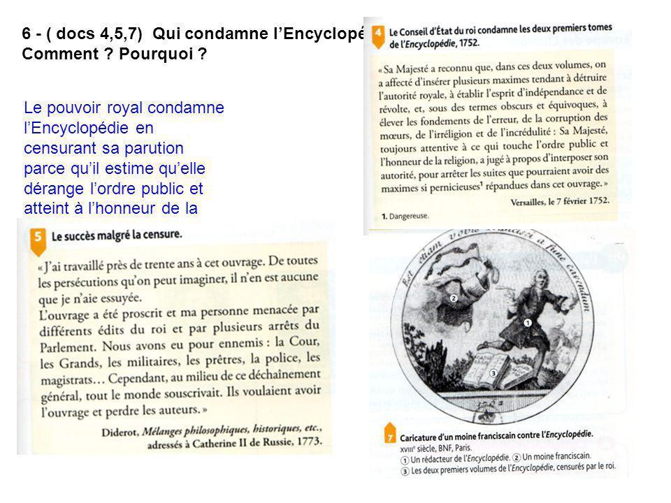 7 - (docs 5,6) Ces condamnations empêchent-elles le succès de lEncyclopédie .