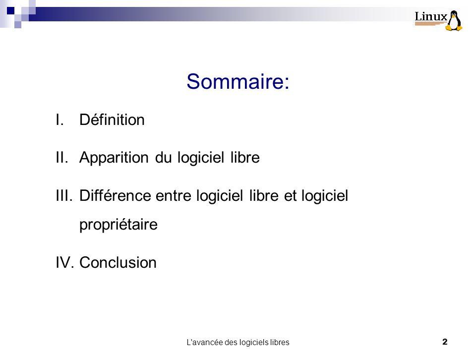 L avancée des logiciels libres2 Sommaire: I.Définition II.Apparition du logiciel libre III.Différence entre logiciel libre et logiciel propriétaire IV.Conclusion